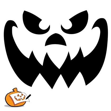 Pumpkin-Carving Template - Scary Pumpkin Face