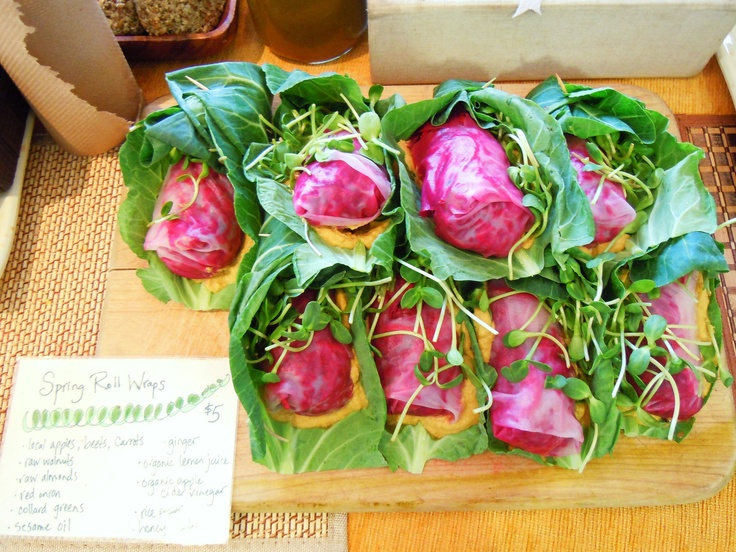 The famous Spring Roll wraps, a true taste of spring and summer.  Collard greens, sunflower sprouts, carrots, apples, beets, walnuts, almonds, apple cider vinegar and more.  A constant market fixture.