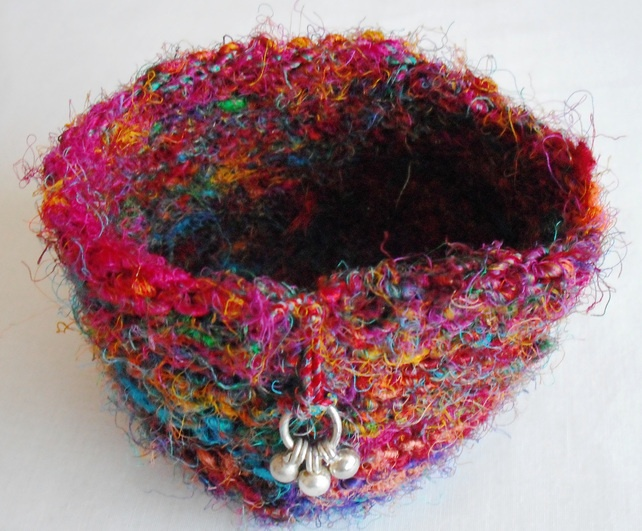 sari silk bowl, beautiful colours