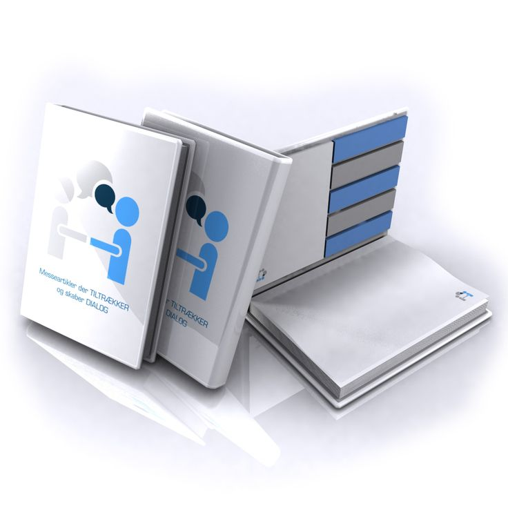 Sticky book with the print of your logo or product symbol.