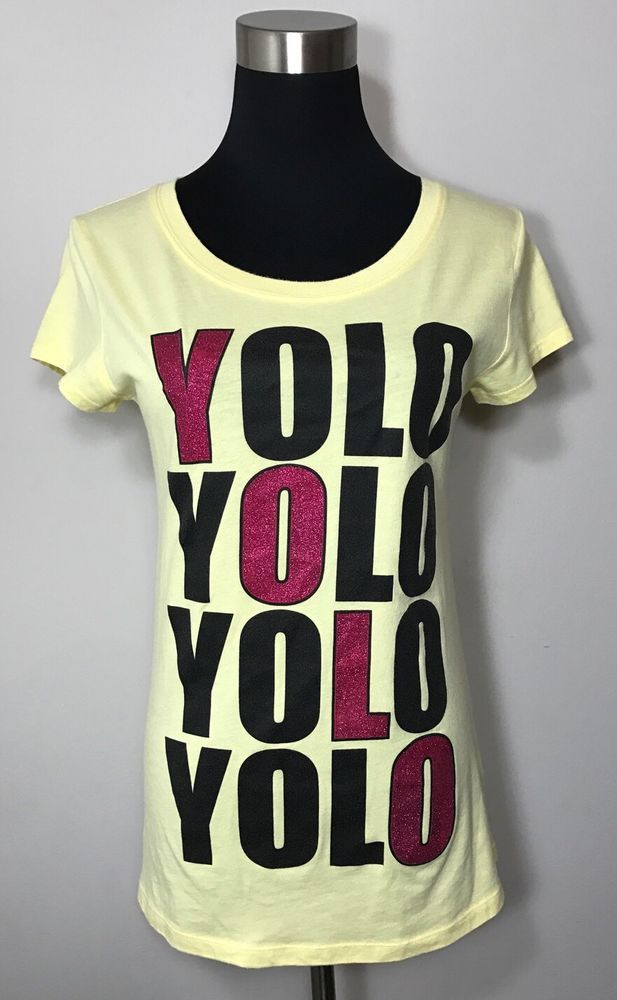 Rue 21 Juniors Size L Shirt Yellow Yolo Slang Pink Sparkle Black Tee T Graphic #rue21 #GraphicTee