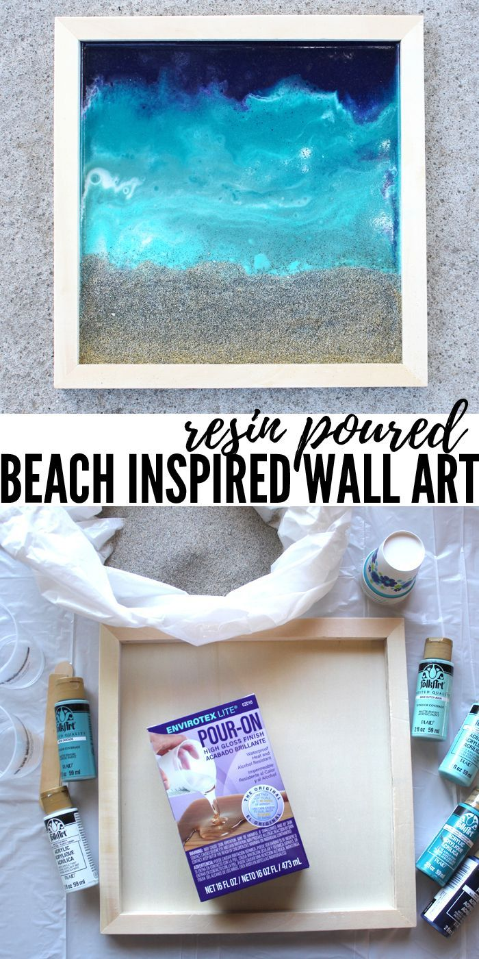 Make Beach Inspired Wall Art With Resin Pouring And Beach Sand