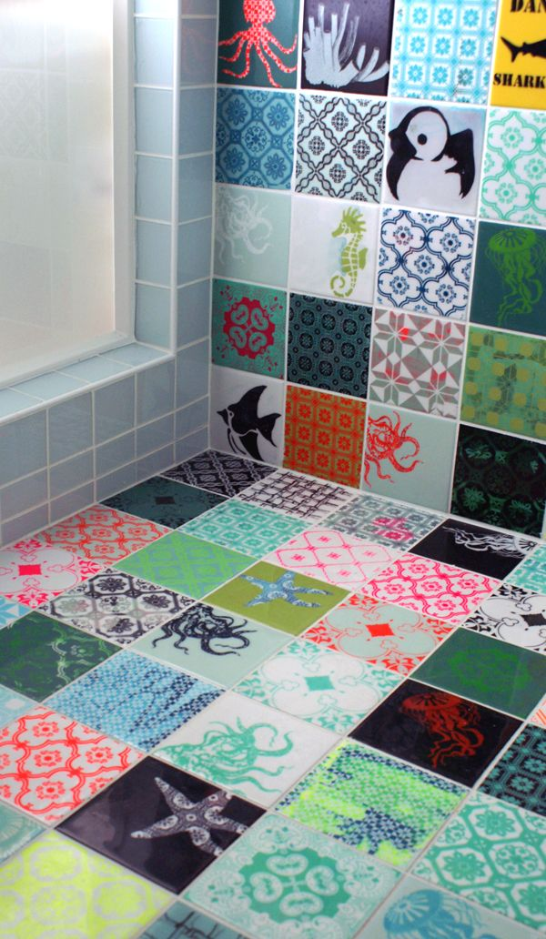 Beautifult tiles - akvarie Arttiles. Could just use a few of these as features in a standard mix.