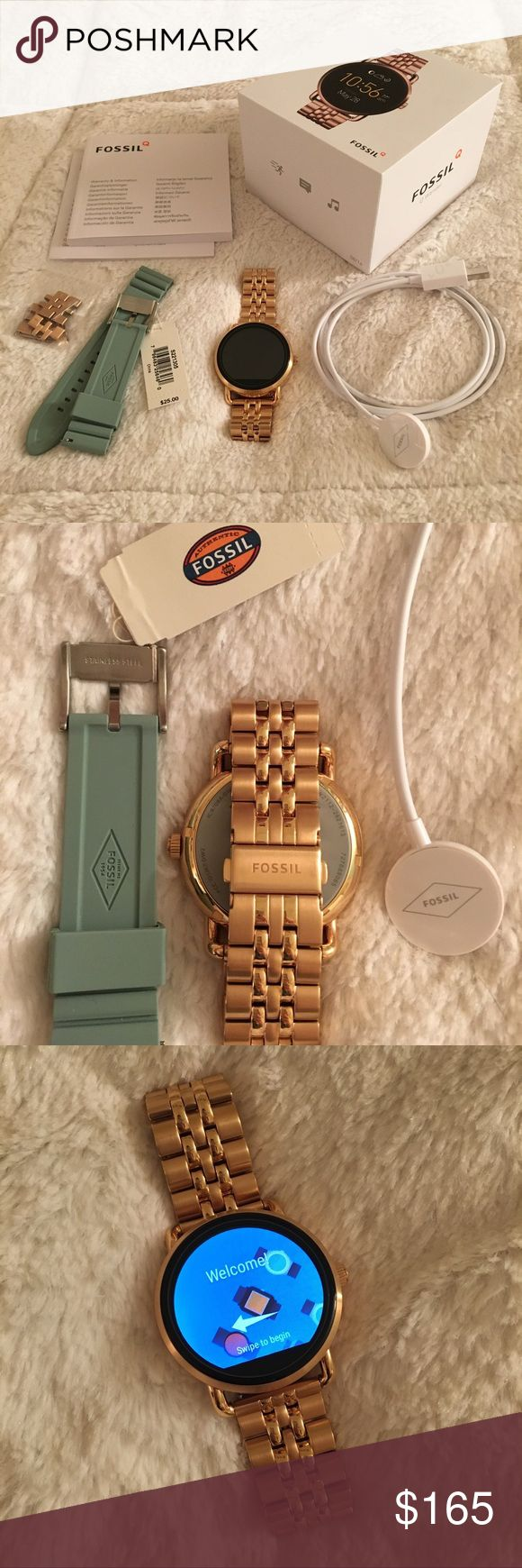 Fossil Q Wander touchscreen SmartWatch, rosegold. Selling a like-new Fossil Q Wander Gen 2 digital touchscreen SmartWatch, in rosegold/black. Compatible with android and iPhone smartphones. Included: Box, (2) USB chargers, stainless steel band (with extra links), and changeable teal band. Fossil Jewelry Bracelets