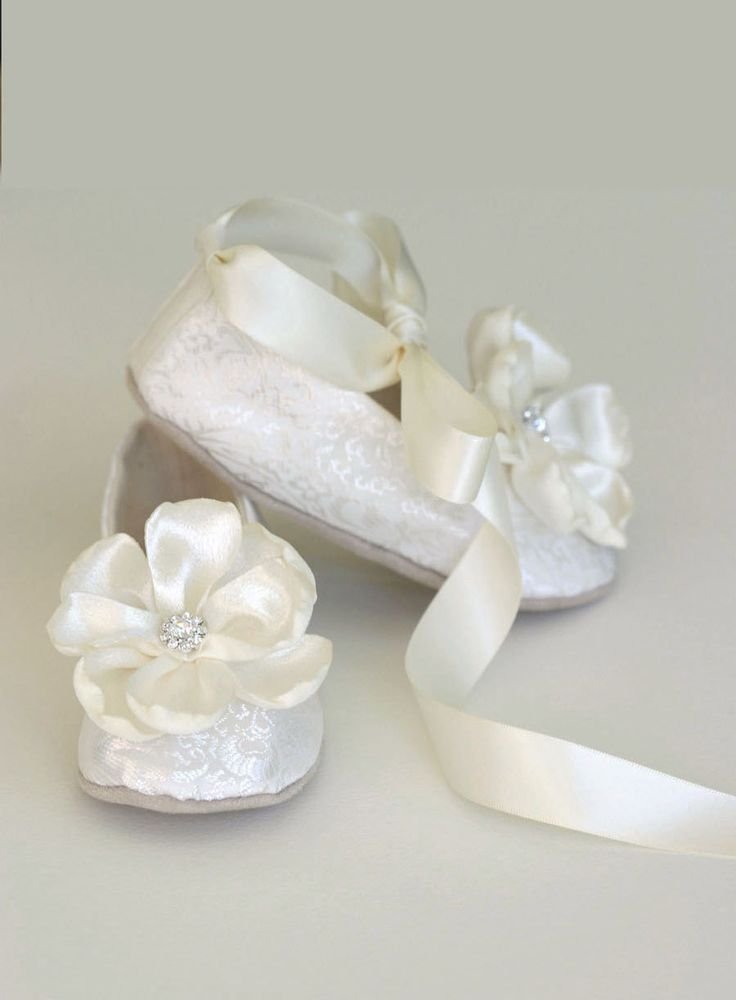 Ivory Brocade Toddler Flower Girl Shoe