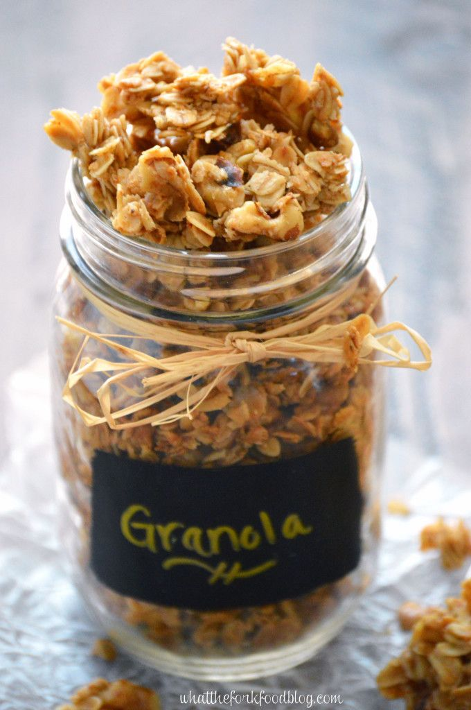 Homemade Maple Walnut Granola makes a great snack or breakfast. Enjoy it with milk as a cereal or on its own. Homemade granola is so easy to make, you'll never go back to store-bought. From What The Fork Food Blog.