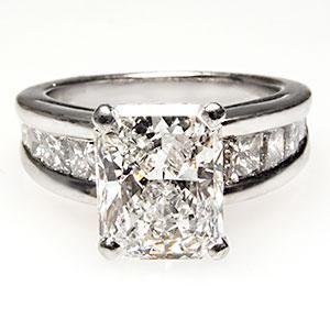 2 Carat Radiant Cut Diamond Engagement Ring Platinum, with channel set princess cuts