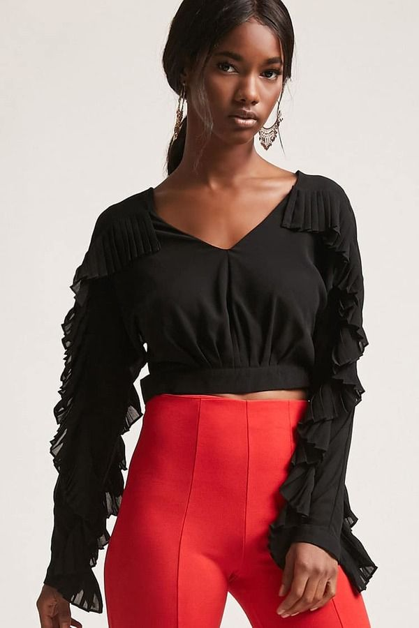 d412a9f8ced FOREVER 21 Pleated Flounce Crop Top | //SHOPSTYLE// | Pinterest ...