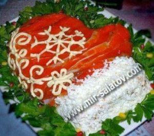 Рецепты салатов. Салат Варежка Деда Мороза с фото | mirsalatov