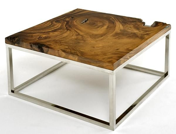 Rustic Contemporary Coffee Table with Chrome Base - Shown Polished - Item #CT03032 - A beautiful solid, organic slab of wood is combined with a modern metal base to form a rustic contemporary work of art. -Base Available in Brushed, Polished or Black - Custom Sizes