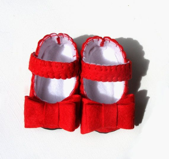 The Chloe in Red - Christmas Holiday Bright Red Baby Shoes with Double Bows - Wool Felt