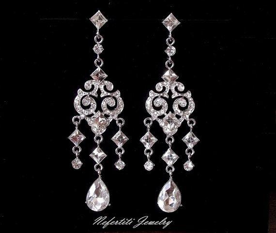 Vintage Style Bridal Chandelier Earrings By
