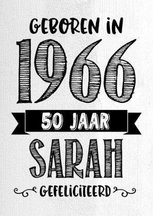 Verjaardagskaart Sarah 1966, verkrijgbaar bij #kaartje2go voor €0,99