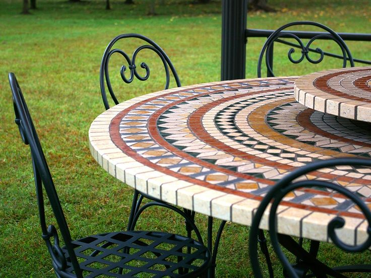 #mosaic #table #top #iron #chairs