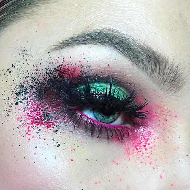 Shadows: @anastasiabeverlyhills Buon Fresco, Red Earth, and Macaroon Splatter: @suvabeauty Hydra Liner in Scrunchie and @wolfefaceartfx Black essential paint  Waterline: @colourpopcosmetics Trophy Wife Lippie Pencil Lashes: @shopvioletvoss Eye Da Hoe Gloss On Lid: @sigmabeauty Lip Switch in Otherworldly Brows: @anastasiabeverlyhills Medium Brown Brow Powder #anastasiabeverlyhills #suvabeauty #wolfefaceartfx #colourpopcosmetics #shopvioletvoss #sigma