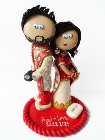 Asian Indian Pakistani Sikh Hindu Muslim Bride & Groom wedding cake topper, custom made, personalised to look like you, I send World wide!