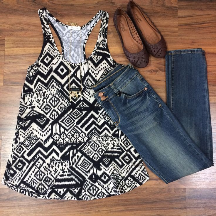*NEW ARRIVAL* We are loving this tribal print razorback tank! Pair it with some skinnies and a cardigan and you'll have the perfect outfit for back to school! :) #styledbyBreanna
