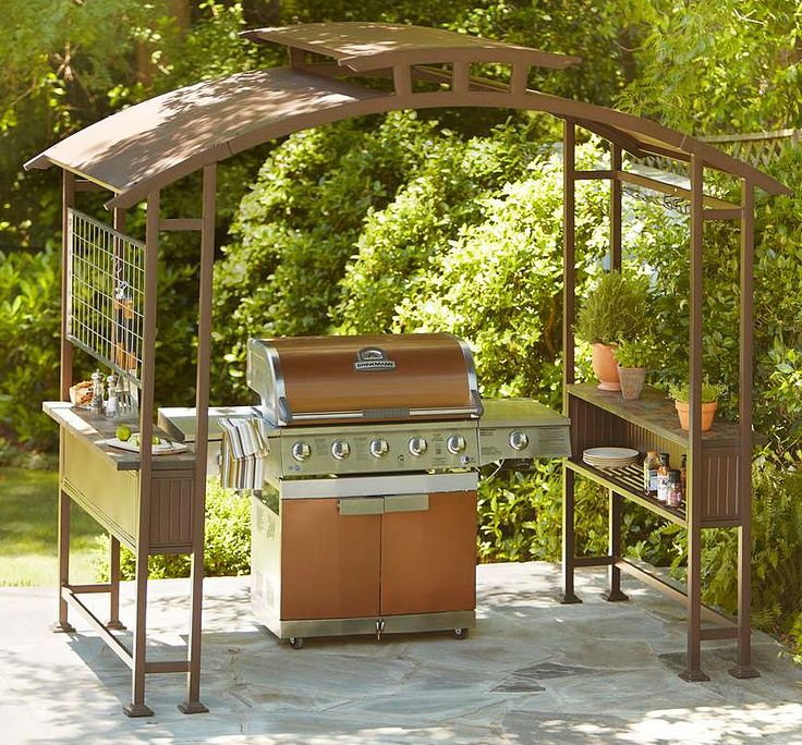 Don't let changing seasons stop you from grilling. This grill gazebo is able to withstand almost anything Mother Nature can throw at it. The natural slate topped shelves on either side add form as well as function to this stunning structure, giving you room to set the steaks when they are done and your drink for when they're not.