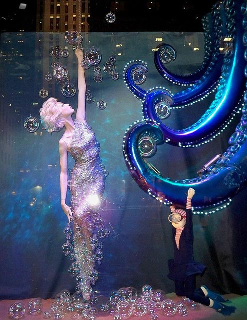 """Underwater"" taken at night. The tentacles move and have rows of lights attached to them. - Christmas window display shot at Saks Fifth Avenue's flagship store."