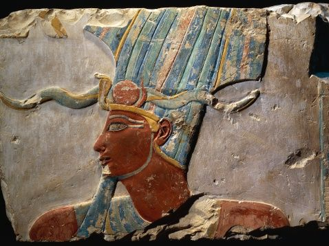 Egypt, Luxor, Ancient Egypt Museum, Limestone, painted relief from Dayr al-Bahri