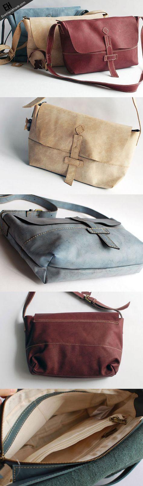 Handmade vintage rustic retro leather crossbody messenger Shoulder Bag | EverHandmade