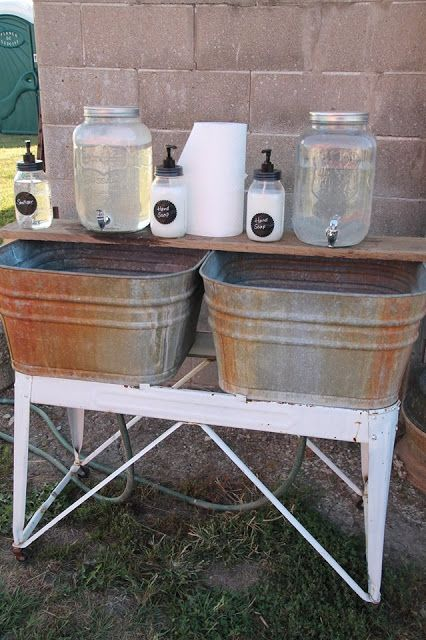 Homemade hand washing station for our barn market