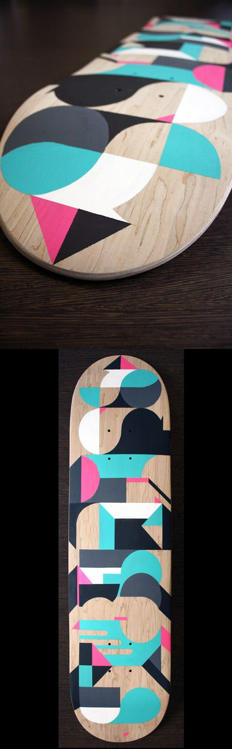 Painted skateboard by Staynice, via Behance