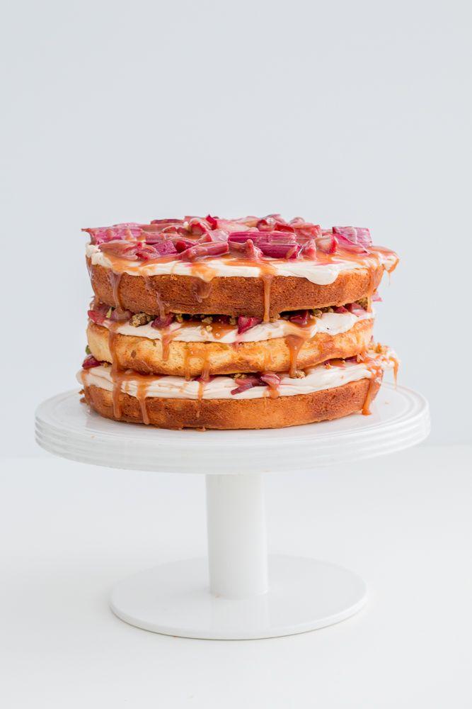 rhubarb salted caramel pistachio cake
