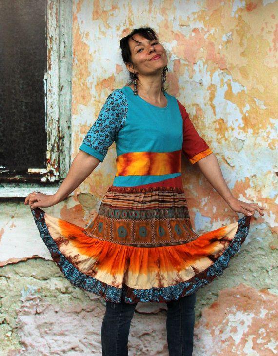 Summer colors shiny recycled dress tunic hippie boho by jamfashion