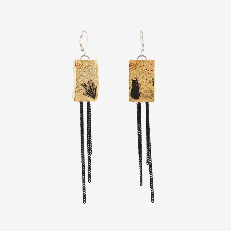 """Boucles d'oreilles Tandem (Étain, Plaqué or brillant 22K) Longueur 9 cm === Tandem earrings (Pewter, 22K Shiny Gold-Plated) Length 3.5"""""""