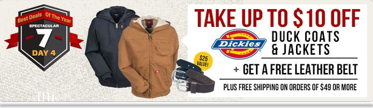 THIS DEAL HAS EXPIRED!  Take $10 Off Select Dickies Coats + FREE Leather Belt + FREE Shipping on $49! This Amazing Dickies Deal Ends 11/28!  While Supplies Last!  Get Yours Now!