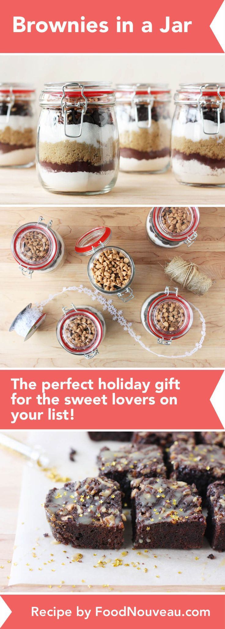 Brownies in a jar are the perfect DIY gift for the sweet lovers on your list! Simply add water, oil, and eggs to bake a decadent chocolatey treat.