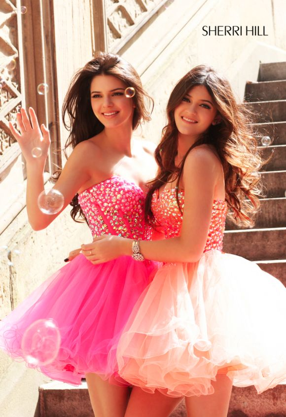 Kendall Jenner and Kylie Jenner Model Sherri Hill Spring 2013 Dress Collection