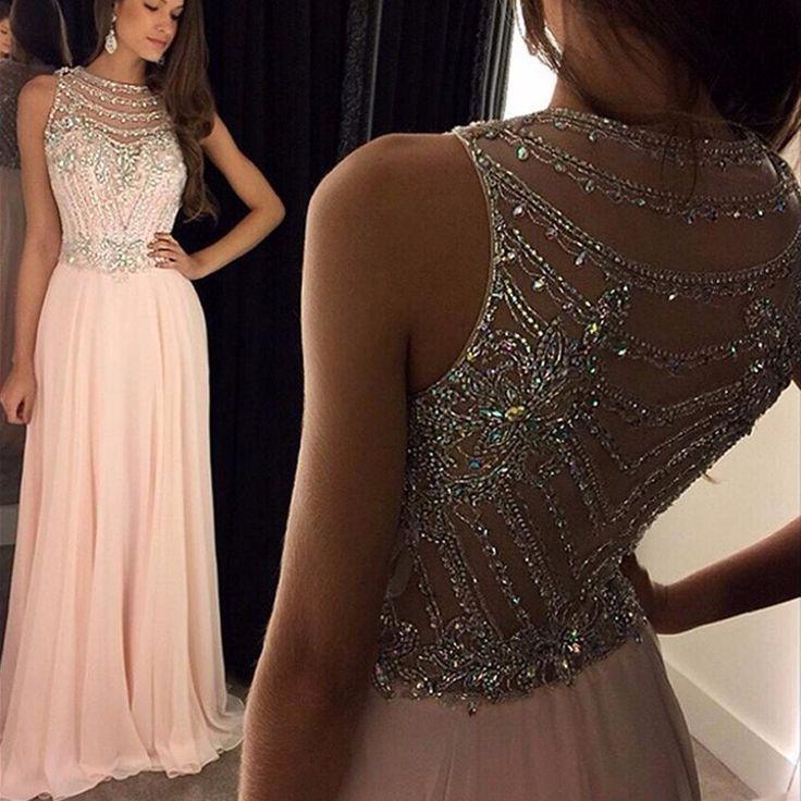 Rosa prom vestidos a line chiffon glittering sheer voltar cristal até o chão vestido de festa longo robe de bal longue em Vestidos de noite de Casamentos & Eventos no AliExpress.com | Alibaba Group