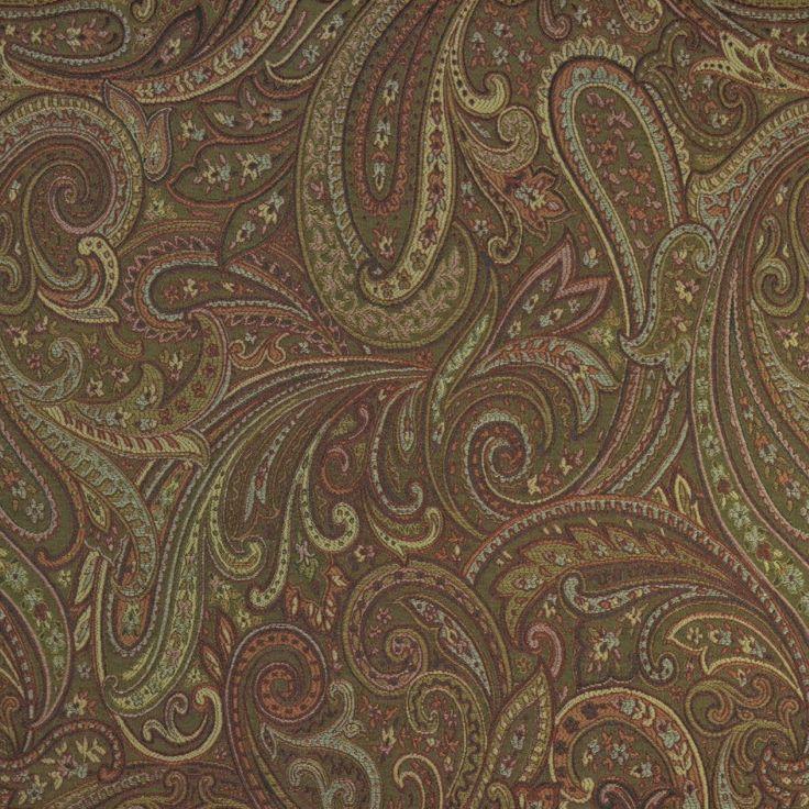 30706   Garnet (Longoria) Paisley Fabric. Reds, Green, Gold, Rust