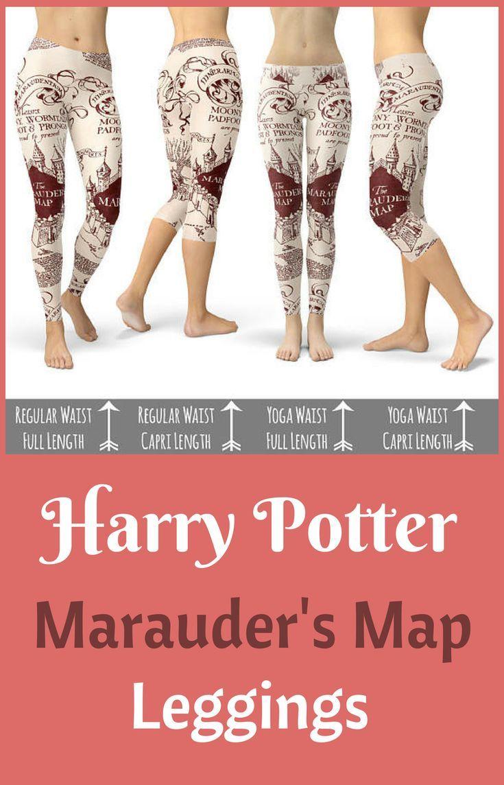 Marauder Map Fleece Leggings Full Length