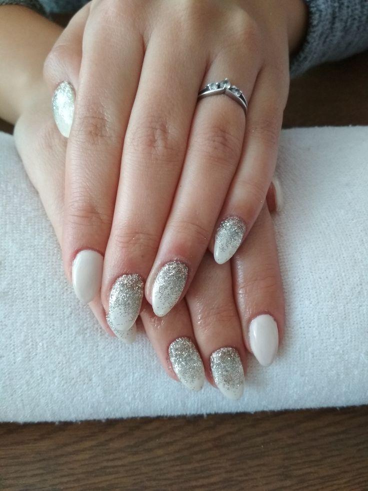 white gel, silver-gold glitter