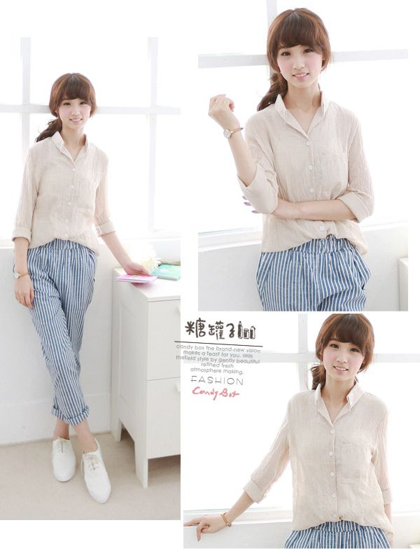 16785BE shirt (beige) Fabric: Cotton Size: Free Size: Shoulder: 37cm Sleeve: 59cm Bust: 92cm Waist: 88cm Length: 64cm