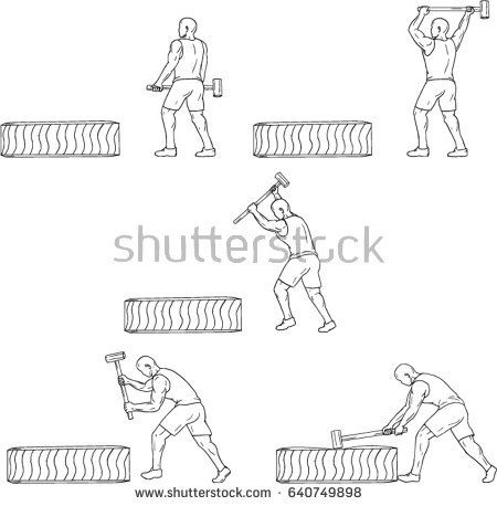 Collection set of illustrations of an athlete working out hitting tire with hammer viewed from the side done in drawing sketch style.   #athlete #sketch #illustration