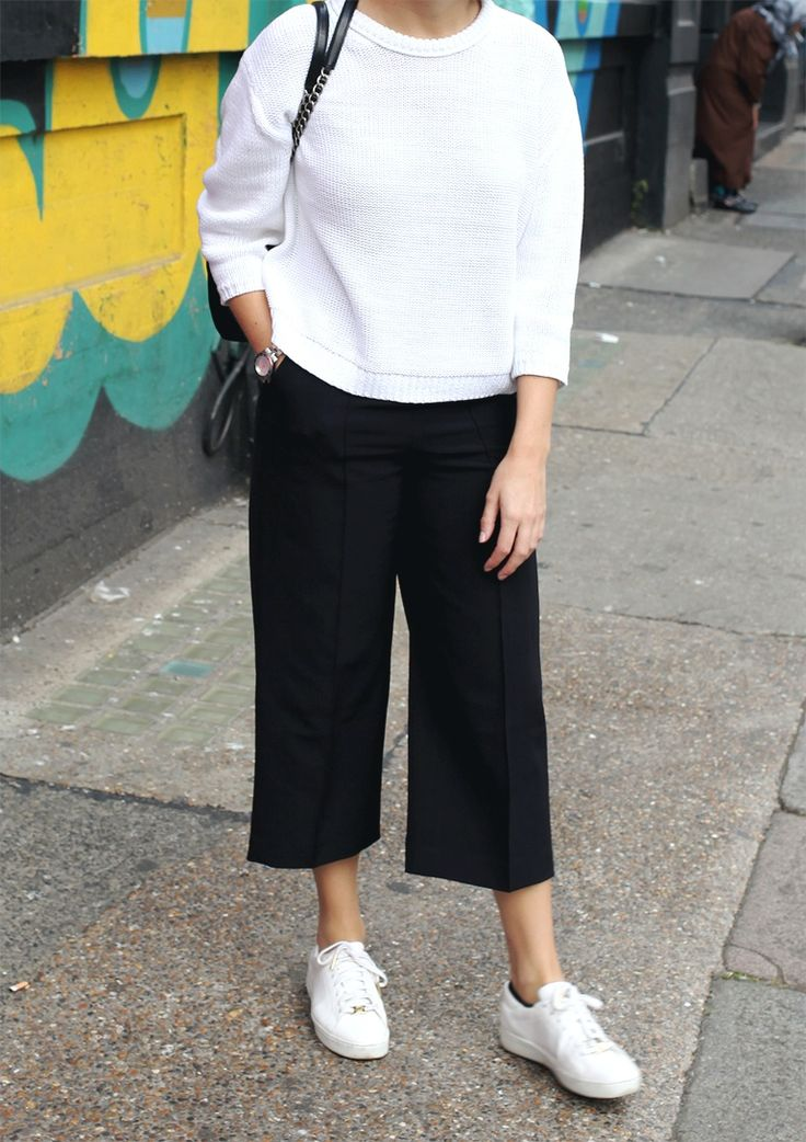 white sweater + black culottes + sneakers