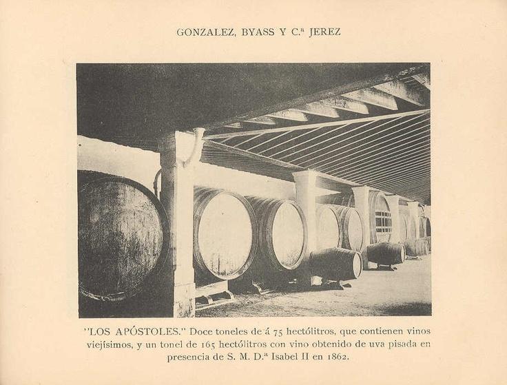 """""""Los Apóstoles"""". 12 toneles de """"a"""" 75 hectólitros, que contienen vinos viejísimos, y un tonel de 165 hectólitros con vino obtenido de uva pisada en presencia de la reina Isabel II en 1862."""