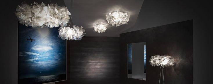 LED Cristalflex® ceiling lamp CLIZIA MINI FUMÈ by Slamp design Adriano Rachele