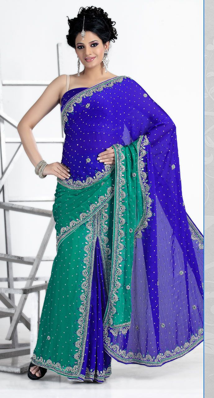 WV142134 Chic Rama And Royal Blue Faux Georgette Lehenga Saree