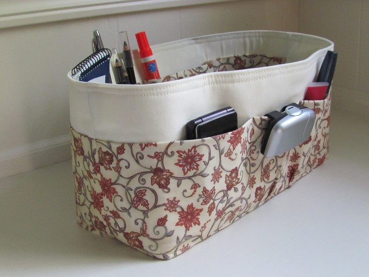 Large Beige And Floral Fabric Purse Insert Organizer With