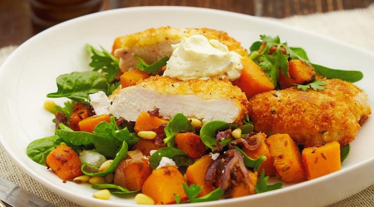 Chris' Crumbed Chicken + Cumin Pumpkin Salad.  http://www.chrisdips.com.au/recipes/1410-crumbed-chicken-and-cumin-pumpkin-salad