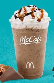 Chocolate Chip Frappe copycat-1 pkt. hot cocoa mix,1 T. powdered creamer,1 pkt. sweetner,1 t. instant coffee, 1/4 c .add hot water and dissolve.Put 1/2 c. milk,2 t. mini chocolate chips,1 1/2 c. crushed ice,1 t. chocolate syrup, and  coffee mixture in blender and blend until smooth.Top with whipped topping and chocolate syrup.