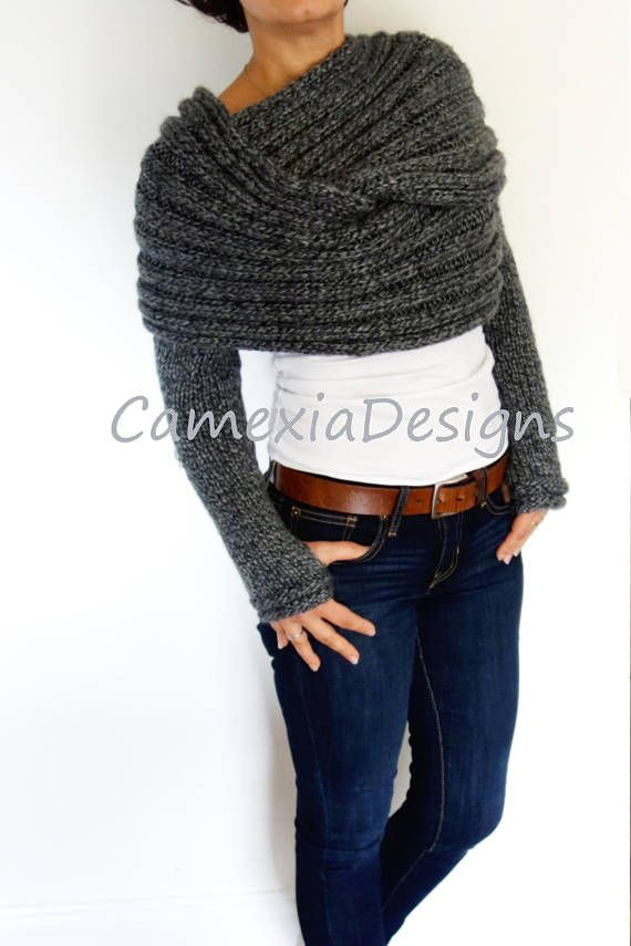 Shrug Knitting Pattern Convertible Scarf With Sleeves Wrap Around Thumb Holes Shrug Modern Chunky Shoulders Cover Up Crafty Shrug Knitting