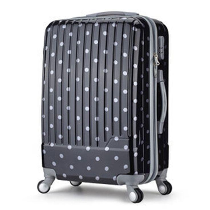 112.91$  Buy now - http://alih92.worldwells.pw/go.php?t=1614746070 - YISHIDUN 2016 Polka dot ABS+PC trolley men women suitcase universal wheels rolling travel luggage bag 20 24 28 inch valiz bags 112.91$