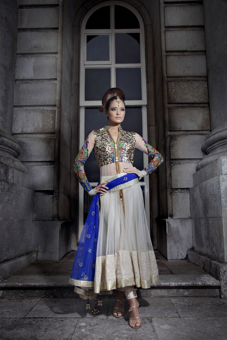 Sheer Anarkali with a fusion twist