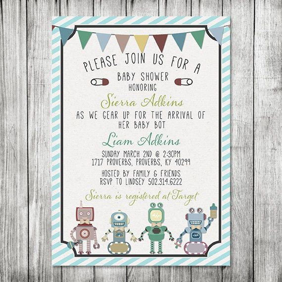 Baby Robot Baby Shower Invite -  Baby Bot Invite - 5x7 JPG by CherryBerryDesign on Etsy https://www.etsy.com/listing/178045457/baby-robot-baby-shower-invite-baby-bot